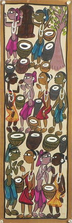 Tribal Wedding Celebration (Kalighat Painting - Water Color on Paper - Unframed))