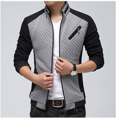 Mens Navy/Gray Colors Zip Up Casual Outdoor Jackets, Casual Men Jackets