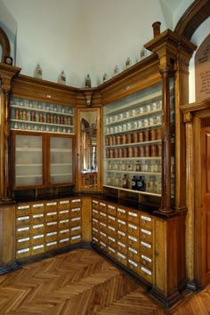 Antique Pharmacy craft room style.