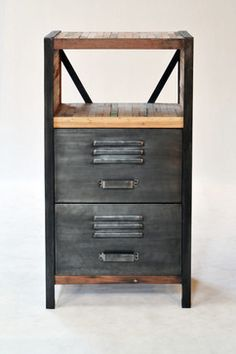 Industrial / Locker Room Style 2 Drawer, 2 Shelf Cabinet industrial-dressers-chests-and-bedroom-armoires