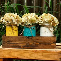 Rustic Mason Jar Centerpiece Rustic Decor Distressed Mason Wooden Box Centerpiece, Mason Jar Centerpieces, Jar Fillers, Handmade Crafts, Diy Crafts, Wide Mouth Mason Jars, Rustic Mason Jars, Dark Walnut Stain, Serving Trays