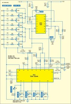 Audio Mixer with Multiple Controls Fig. Circuit of audio mixer with bass, treble, volume and balance control Electronics Projects, Simple Electronics, Hobby Electronics, Electronics Basics, Electronic Circuit Projects, Electronic Engineering, Battery Charger Circuit, Diy Amplifier, Power Supply Circuit