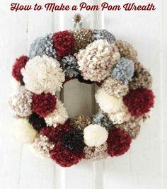 How to Make a Pom Pom Wreath Tutorial. #wreath #DIY #crafts