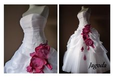 Wedding dress with hand-made flowers