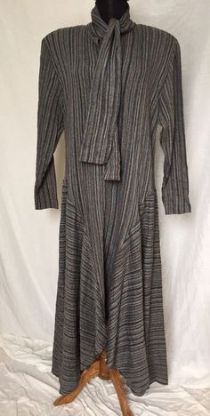 Vintage Norma Kamali Removable Shoulder Pads Scarf Collar Artsy Stripe Dress - L #NormaKamali #AsymmetricalHem