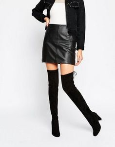 Glamorous Tie Back Black Heeled Over The Knee Boots