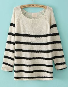 Black Long Sleeve Striped Loose Sweater