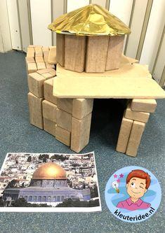 Bouwwerken in de bouwhoek door kleuters, thema Israël 1, kleuteridee