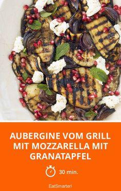 Aubergine vom Grill mit Mozzarella mit Granatapfel