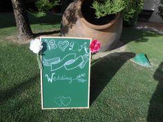 Pizarra verde anunciadora boda www.eventosycompromiso.com
