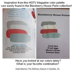 Paint Color Comparison From Hgtv Magazine Picks With Blackberry House Colors