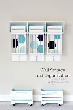 Crates And Pallet Wall Storage and Organization organization ideas #organization #organized