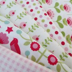 Tilda Fabric Bundle ~ White, Pink and Red