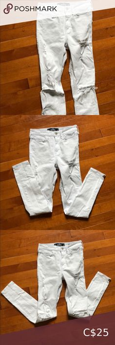 Hollister white jeans Size 00 White ripped Hollister High Rise Super Skinny jeans in excellent condition. No marks.  Size 00S Waist 23  Inseam 28 Hollister Jeans Skinny White Ripped Skinny Jeans, Low Rise Skinny Jeans, Super Skinny Jeans, White Jeans, Long Black Sweater, Hollister Jeans, Size 00, First Photo, Jeans Size