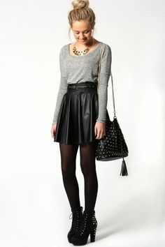 Women's Grey Crew-neck Sweater, Black Pleated Leather Mini Skirt, Black Studded Suede Ankle Boots, Black Studded Leather Crossbody Bag