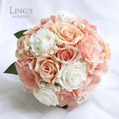 Peach Rose Bridal Bouquet Corsage Boutonniere