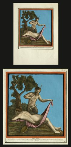 Satyr and Nude Female c. 1780. Antique erotic western copperplate engraving.