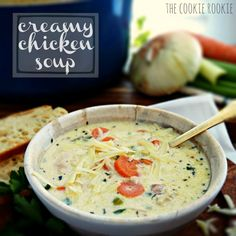 Creamy Chicken Soup is my absolute favorite soup on the planet! This is the best soup ever. Everyone always asks for this (easy) recipe!