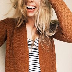 burnt orange cardi + stripes Really cute fall outfit Looks Street Style, Looks Style, Style Me, Classic Style, Mein Style, Paris Mode, Looks Chic, Moda Fashion, Mode Inspiration