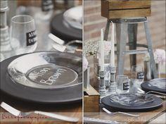 Industrial Wedding Reception Table Decor #chalk #wood