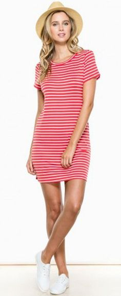 Red and White Striped Dress + Cute Hat