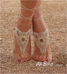 Beach Barefoot Sandals,Ivory Golden Barefoot sandles,Beach Pool,Nude shoes,Foot jewelry, Beaded sandals,Bridal,Beach wedding