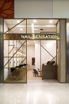 NAIL SENSATION | Nail Bar & Salon Design | Suburban Design & Construct | Retail + Commercial Shopfitting Perth Western Australia | Interior Design | Graphic Design, Signage + Printing |Shop Fit Out | Shop + Kiosk Design, Fit Out & Build | Perforated Metal | Powdercoat | Gold