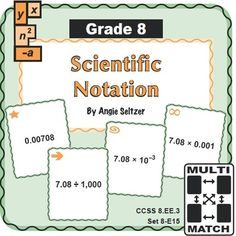 Grade 8 Multi-Match Game Cards for Scientific Notation (CCSS 8.EE.3). As students play games with these 36 easy-to-print cards, they will gain fluency with scientific notation and review powers of 10. Math can be fun! ~by Angie Seltzer