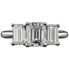 2.21 Carat Emerald-Cut Diamond Platinum Three-Stone Ring