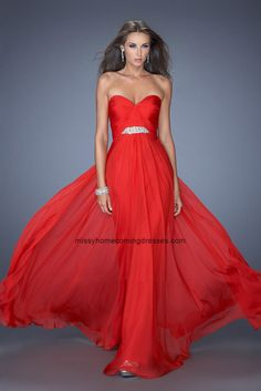 d2cfd56a8df Red La Femme 19636 Crystal Detail Elegant strapless Prom Gown Long Chiffon  Skirt