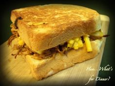 Hun... What's for Dinner?: Grilled Mac and Cheese with Pulled Pork Sandwiches