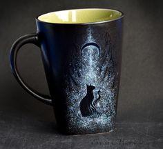 Black cat- hand painted mug. https://www.facebook.com/EMsilverART/