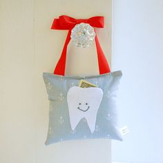 Boy's Tooth Fairy Pillow Tooth Fairy Gift in Nautical Sailor Anchor Print