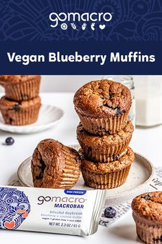 For a quick and delicious breakfast-on-the-go, make these vegan muffins ahead of time, then just grab and go! Vegan Blueberry Muffins, Blue Berry Muffins, Vegan Treats, Vegan Foods, Healthy Crockpot Recipes, Healthy Snacks, Healthy Tips, Eating Healthy, Clean Eating