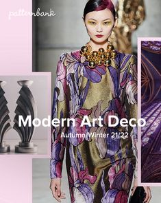 Art Deco styled florals and pattern take on a new twist for Autumn / Winter Touches of gold and contrasting outlines emphasise this highly decorative Art Deco Fashion, Fashion Prints, Fashion Design, Fashion Tips, Ladies Fashion, Fashion Colours, Colorful Fashion, Fashion Forecasting, Modern Art Deco