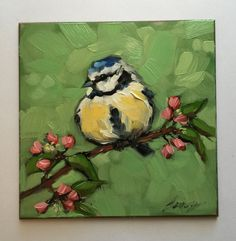 "Blue Tit painting, Original impressionistic oil painting of a Blue Tit, 4x4"" on panel, bird art, flowers, birds"