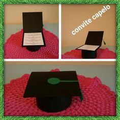 Lindo convite em formato de capelo! <br>Feita em papel color plus, gramatura 180. <br>Faço outras cores, consulte!