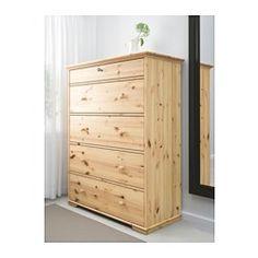 IKEA - HURDAL, Cassettiera con 5 cassetti, , Le venature e i nodi del pino massiccio donano a ogni articolo caratteristiche uniche.I cassetti grandi ti offrono tanto spazio per organizzare ogni cosa.I cassetti scorrono facilmente sulle guide in legno.È in legno massiccio, un materiale naturale caldo e resistente.Puoi organizzare l'interno con il set di 3 scatole SVIRA, venduto a parte.