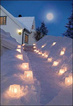 Ice Lanterns brighten up dark winter nights. They are a very welcome sight that reflect off the white snow.