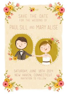 whimsical illustrated save the date cards with hand-drawn portrait | via emmalinebride.com
