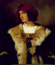 Tiziano Vecellio, Ritratto di un Uomo con Cappello Rosso, 1516.