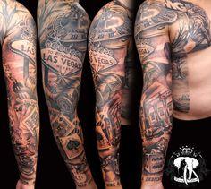 Realistic Vegas Sleeve tattoo Body Art Tattoos, New Tattoos, Tribal Tattoos, Sleeve Tattoos, Tattoos For Guys, Cool Tattoos, Tatoos, Card Tattoo, I Tattoo