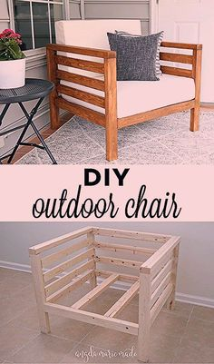 DIY Outdoor Stuhl - Angela Marie Made angela marie outdoor stuhl Outdoor Couch, Diy Furniture Couch, Diy Outdoor Furniture, Diy Chair, Furniture Ideas, Colorful Furniture, Furniture Makeover, Diy Furniture Plans Wood Projects, Building Furniture