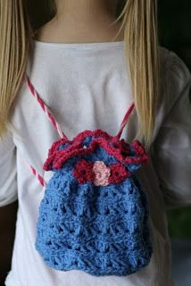 bethsco blog: Little Lady Drawstring Crochet Purse Bag Backpack pattern