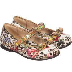 Roberto Cavalli Girls Leopard & Floral Print Leather Shoes