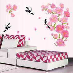 Cherry Blossom Flower Black Flying Birds Wall Stickers Sticker Decorative Living Room Mural Home Decor Art Wedding Decorations #Affiliate