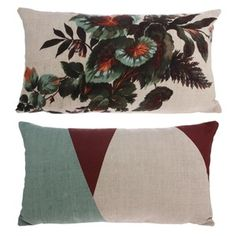 This beautiful Cotton Kyoto Print Cushion - x oozes Japanese influence. Once side has a highly decorative floral print using greens, oranges and reds, while the back offers an alternative abstract print. Bolster Cushions, Velvet Cushions, Lumbar Pillow, Throw Pillows, Kyoto, Floral Cushions, Printed Cushions, Pantone, Botanical Prints