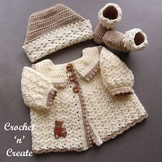 Crochet Babies Picot Set - A set with a sweet picot edge and puff sleeves consisiting of a sweater, ski hat and booties Crochet Baby Sweater Pattern, Crochet Baby Sweaters, Newborn Crochet Patterns, Baby Sweater Patterns, Baby Clothes Patterns, Crochet Baby Clothes, Baby Patterns, Baby Knitting, Newborn Crochet Outfits