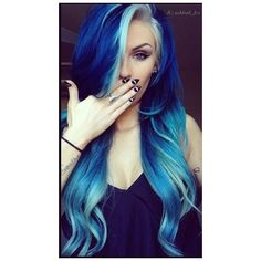 17 Great Blue Hairstyles ❤ liked on Polyvore featuring beauty products, haircare, hair color and hair