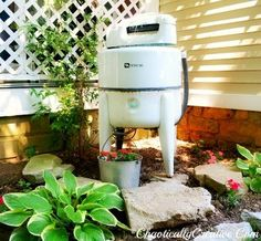 vintage washer turned water feature, container gardening, gardening, outdoor living, ponds water features